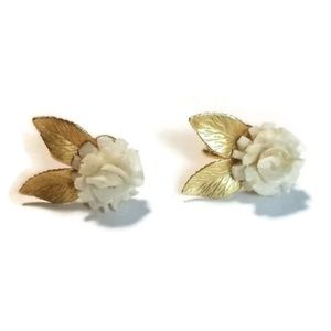 CRC 12k Gold Filled Screwback Carved Rose Earrings
